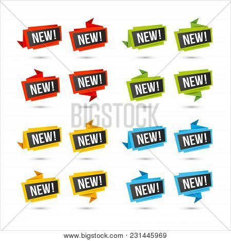 Labels For New Arrival, Price, Or Location. Vector Web Icons, In Paper Origami Style, Isolated On Wh