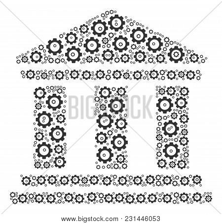 Library Building Composition Of Gearwheels. Vector Cog Wheel Objects Are Grouped Into Library Buildi