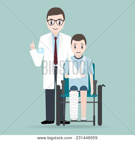 Doctor And Injury Man In Bandage And Wheelchair Icon.medical Sign Icon