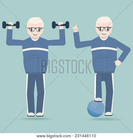 Elderly Couple Exercise Icon, Health Care For Elderly Concept