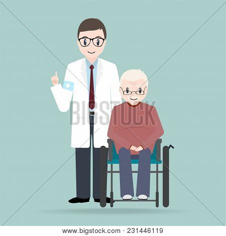 Doctor With Elderly Man Sitting On Wheelchair Illustration. Medical Care Concept