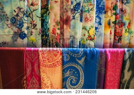 Da Lat, Vietnam - March 9, 2017: Silk Scarfs At A Silk Factory Xq In Da Lat, Vietnam