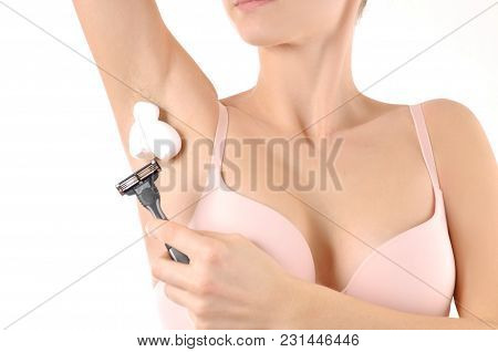 Woman Shaving Razor Armpit. Depilation, Hair Removal And Skin Care Concept.