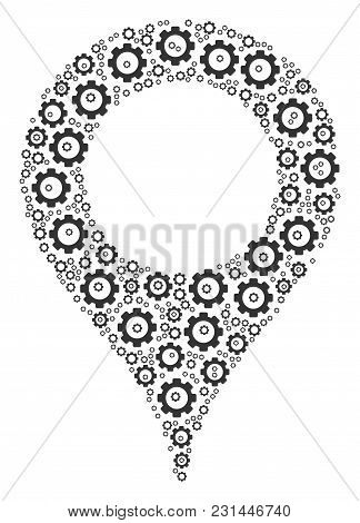 Map Marker Composition Of Gear Elements. Vector Gear Icons Are Organized Into Map Marker Illustratio