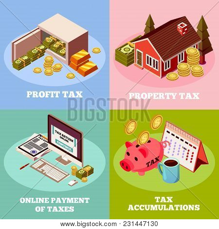 Accounting And Taxes 2x2 Isometric Design Concept With Profit Tax Property Tax Online Payment Square