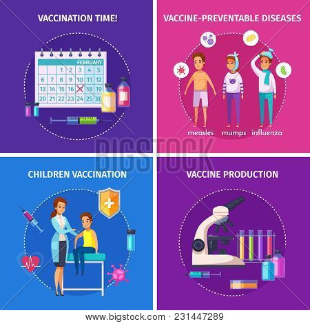 Vaccination Immunity Cartoon 2x2 Composition Design Concept With Doodle Characters Of People And Med