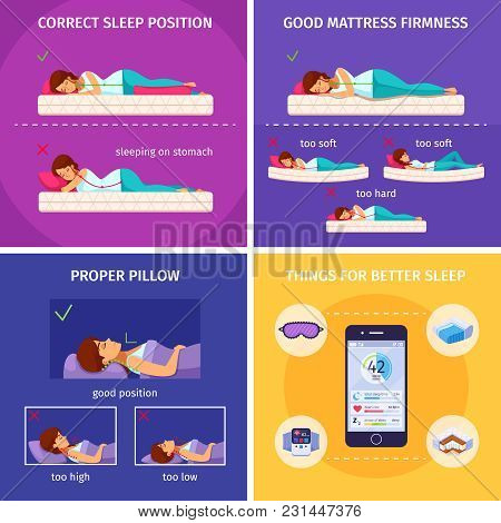 Correct Sleeping Cartoon 2x2 Composition Of Flat Human Characters And Smartphone Icons Of Things For