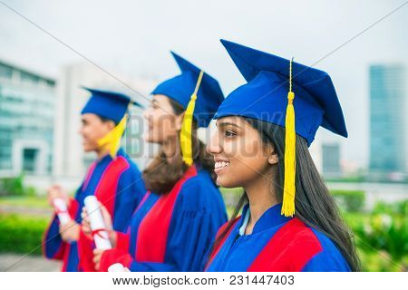 Pretty Smiling Indian Girl Graduated From University