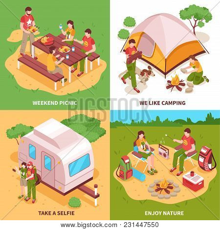Expedition 4 Isometric Icons Square Concept With Camping Tent Caravan Picnic In Meadow Selfie Isolat