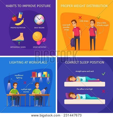 Children Posture Cartoon 2x2 Design Concept With Correct Sleep Positions Sufficient Lighting And Wei