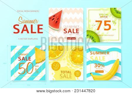 Set Of Social Media Banners For Summer Sale. Vector Illustration With Realistic Tropical Summer Frui