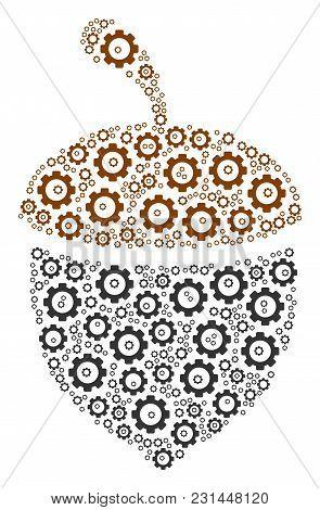 Oak Acorn Collage Of Cog Wheels. Vector Mechanical Wheel Items Are Combined Into Oak Acorn Illustrat