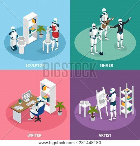 Artificial Intelligence 4 Isometric Icons Concept With Creative Robots Sculptor Artist Writer Singer