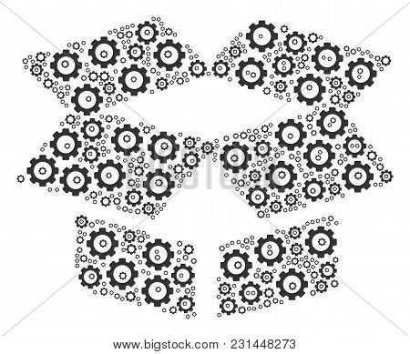 Open Box Composition Of Gear Elements. Vector Mechanical Wheel Items Are United Into Open Box Collag