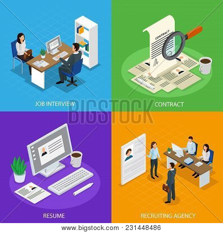 Employment Concept Isometric Icons Square With  Recruitment Agency Job Interview Resume Hiring Manag