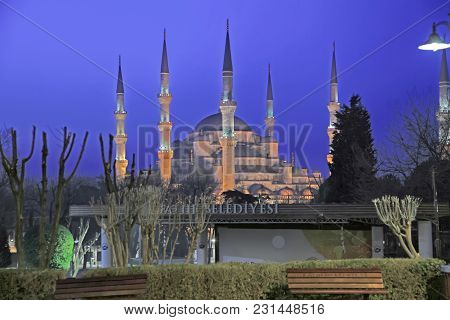 Istanbul, Turkey - March 24, 2012: Night Illumination Of The Blue Mosque.