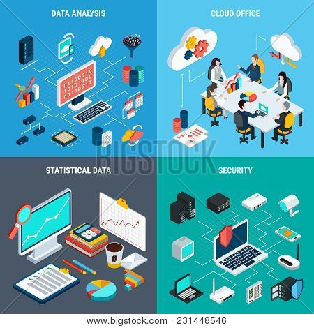 Big Data 2x2 Design Concept Set Of Cloud Office Data Analysis Security And Statistic Square Icons Is