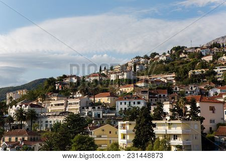 Herceg-novi, Montenegro - September 8: Various Private Houses On The Mountain In The City In The Eur