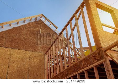 New Construction Residential Home Interior View New Home Construction Framed With Wood Studs