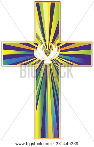A Vector Illustration Of A Cross Filled With Colorful Rays And A Stylized Dove, Representing The Res