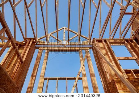 Wooden Roof Construction, For Home, Home Construction New Building Under Construction