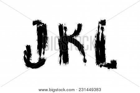 Abstract Letters Set Painted With Brush J K L Signs Futuristic Font