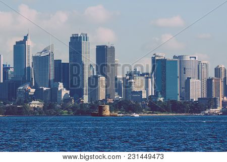 Sydney, Australia - July 11th, 2013: Sydney Central Business District Skyline Shot From Across The H