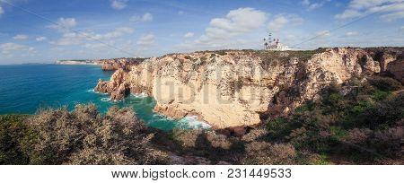 Panorama Of Algarve Rocky Coastline In Portugal