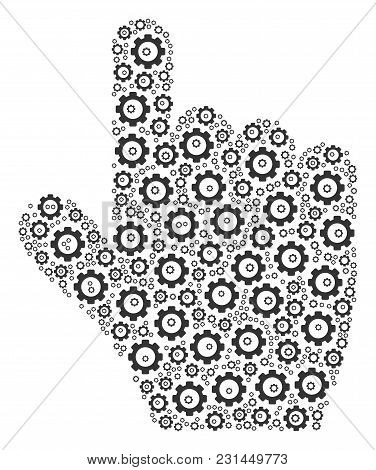 Pointer Finger Mosaic Of Vector Gears. Vector Tooth Gear Pictograms Are Combined Into Pointer Finger