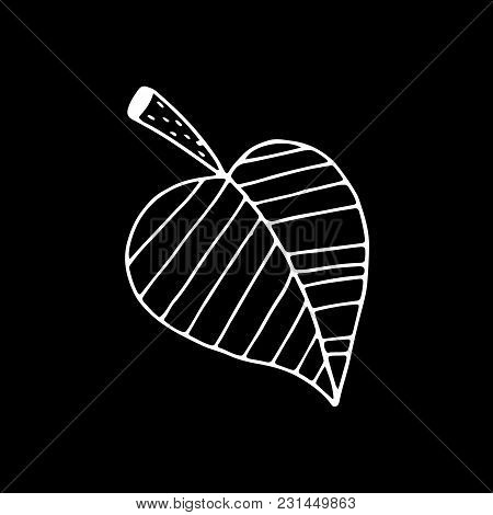 Linear Cartoon Hand Drawn Leaf Drawing. Cute Vector Black And White Leaf Drawing. Isolated Monochrom