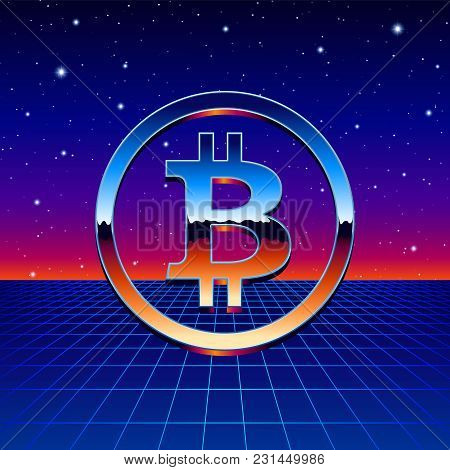Bitcoin Chrome Sign With Shiny Sci-fi Futuristic Background And Neon Grid. Cryptocurrency Logo For B