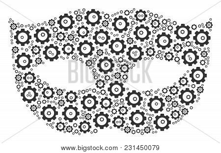 Privacy Mask Composition Of Mechanical Wheels. Vector Gear Parts Are Organized Into Privacy Mask Col