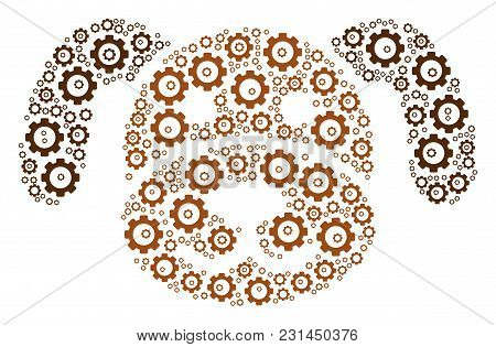 Puppy Collage Of Gearwheels. Vector Gear Symbols Are Organized Into Puppy Illustration.