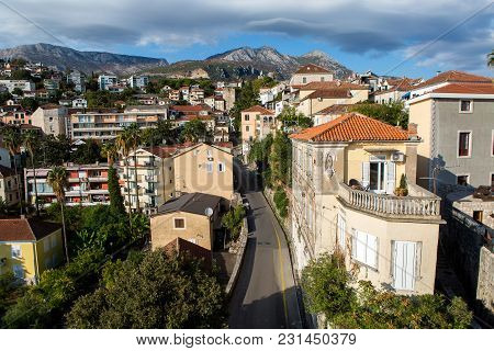 Herceg-novi, Montenegro - September 26: Road To Herceg Novi In The Center Of The Old Town From Above