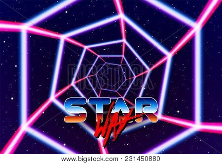 Neon Tunnel In Space With 80s Styled Lazer Lines For Futuristic Poster Or Flyer. Gate With Stars And