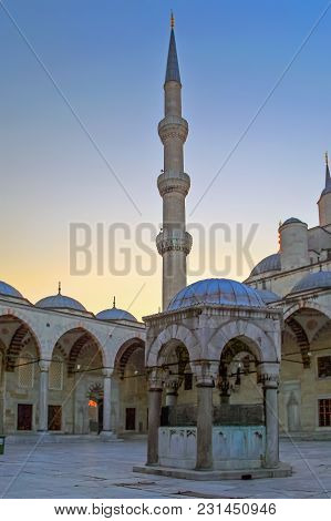 Istanbul, Turkey - March 24, 2012: The Inner Courtyard Of Sultanahmet Mosque.