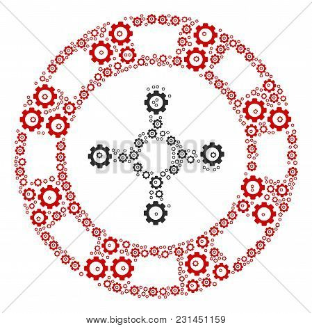 Roulette Casino Chip Mosaic Of Gear Wheels. Vector Gear Pictograms Are Grouped Into Roulette Casino
