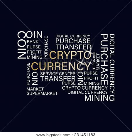 Crypto Currency. Digital Currency. Flat Thin Line Designed Vector Text On Dark Background. Poster. C