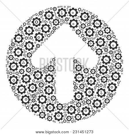 Rounded Arrow Mosaic Of Vector Gears. Vector Gearwheel Pictograms Are United Into Rounded Arrow Illu