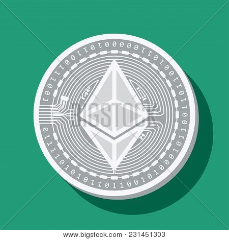 Coin Of The Crypto Currency Etherium, Drawn In Vector