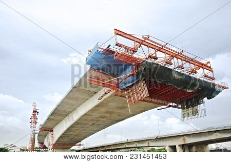Bridge Under Construction In Bangkok, Thailand, Viewed From Below.