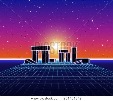 Neon Grid Landscape With 80s Retro Wave Game Style, Ancient Stone Ruins With Neon Lights And Sun For