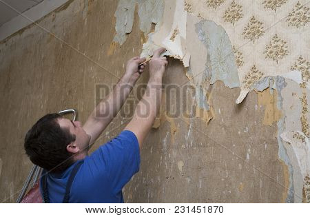 Man Worker Removing Old Wallpaper Of A Concrete Wall During Renovation Of A House