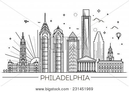 Cityscape Building Line Art Vector Illustration Design. Philadelphia City