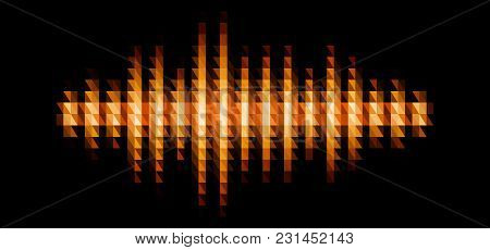 Audio Or Music Yellow Shiny Sound Waveform With Triangular Light Filter With Colorful Triangles For