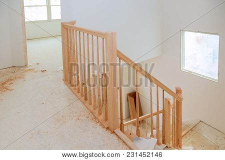 Abstract Of Beautiful Stair Railing And Carpeted Steps In House. Wizard For Wooden Railing For Stair