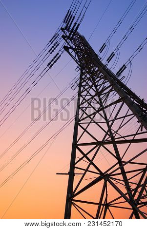 Pylon Silhouette At Sunset. Photographed In Melbourne Australia.