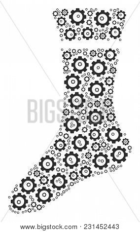 Sock Composition Of Gear Icons. Vector Cog Parts Are Organized Into Sock Figure.
