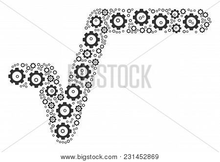 Sqrt Mosaic Of Cogs. Vector Gearwheel Pictograms Are Organized Into Sqrt Composition.