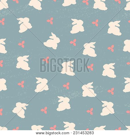 Seamless Vector Pattern With Rabbit And Flowers For Banner And Greeting Card. Typography Design Or F